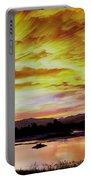 Sunset Over A Country Pond Portable Battery Charger