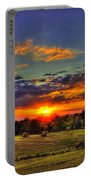 Sunset Over The Hay Field Portable Battery Charger