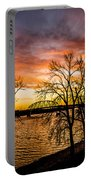 Sunset Over The Mississippi River Portable Battery Charger