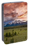 Sunset Over The Tetons  Portable Battery Charger
