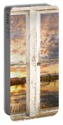 Sunset Reflections Golden Ponds 2 White Farm House Rustic Window Portable Battery Charger