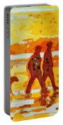 Sunset Silhouette Carmel Beach With Dog Portable Battery Charger