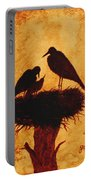 Sunset Stork Family Silhouettes Portable Battery Charger