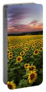 Sunset Sunflowers Portable Battery Charger by Debra and Dave Vanderlaan
