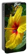 Sunshine Yellow Hibiscus With Red Throat Portable Battery Charger