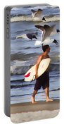 Surfer And The Birds Portable Battery Charger