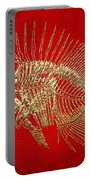 Surgeonfish Skeleton In Gold On Red  Portable Battery Charger