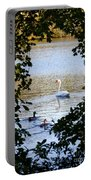 Swan And Ducks Through Trees Portable Battery Charger