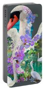 Swan Day Dream Portable Battery Charger by Alixandra Mullins