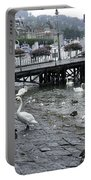 Swans And Ducks In Lake Lucerne In Switzerland Portable Battery Charger