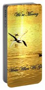 Swans Flying Over The Water Portable Battery Charger
