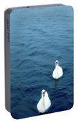 Swans On The Vltava River, Prague Portable Battery Charger