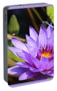 Sweet Dragonfly On Purple Water Lily Portable Battery Charger