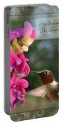 Sweet Pea Hummingbird Iv With Verse Portable Battery Charger by Debbie Portwood