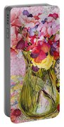 Sweet Peas With Cherries And Strawberries Portable Battery Charger