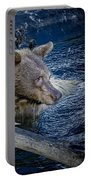 Black Bear On Blue Portable Battery Charger