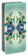 Symmetrical Orchid Art - Blues And Greens Portable Battery Charger