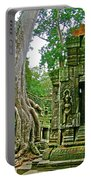 Ta Prohm And Tree Invasion In Angkor Wat Archeologial Park Near Siem Reap-cambodia Portable Battery Charger