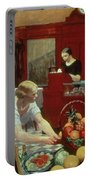 Tables For Ladies Portable Battery Charger by Edward Hopper