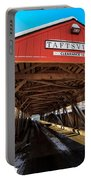 Taftsville Covered Bridge In Vermont In Winter Portable Battery Charger by Edward Fielding