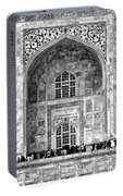 Taj Mahal Close Up In Black And White Portable Battery Charger
