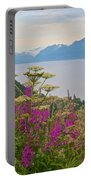 Tall Fireweed And Cow Parsnip Over Cook Inlet Near Homer- Ak Portable Battery Charger