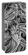 Tangled Rope And Lobster Fishing Gear On Dock Maine Portable Battery Charger