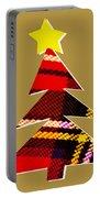 Tartan Christmas Tree On Gold Portable Battery Charger