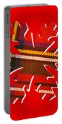 Tartan Snowflake On Red Portable Battery Charger