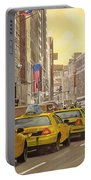 taxi a New York Portable Battery Charger by Guido Borelli