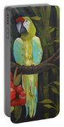 Teal Chartreuse Parrot Portable Battery Charger