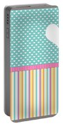 Teal Polka Heart Portable Battery Charger