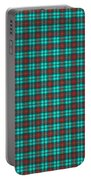 Teal Red And Black Plaid Fabric Background Portable Battery Charger