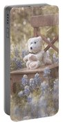 Teddy Bear And Texas Bluebonnets Portable Battery Charger