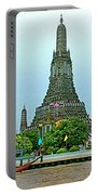 Temple Of The Dawn-wat Arun From Waterways Of Bangkok-thailand Portable Battery Charger