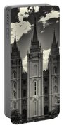 Temple Square Black And White Portable Battery Charger