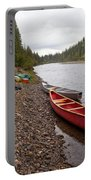 Tents And Canoes At Mcquesten River Yukon Canada Portable Battery Charger