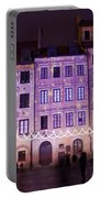 Terraced Historic Houses At Night In Warsaw Portable Battery Charger