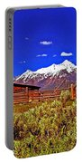 Tetons - Gambrel Barn And Fence Panorama Portable Battery Charger