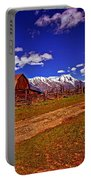 Tetons And Gambrel Barn Perspective Portable Battery Charger