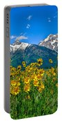 Tetons Peaks And Flowers Left Panel Portable Battery Charger