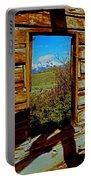 Tetons Through Log House Window Portable Battery Charger