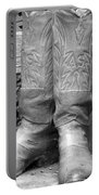 Texas Boots Portrait - Bw 03 Portable Battery Charger