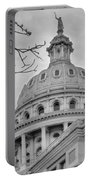 Texas Capital Dome In Monochrome Portable Battery Charger