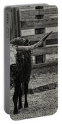 Texas Longhorn Black And White Portable Battery Charger