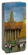 Thai-khmer Pagoda And Golden Chedis At Grand Palace Of Thailand  Portable Battery Charger