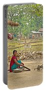 Tharu Farming Village Landscape-nepal Portable Battery Charger