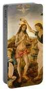 The Baptism Of Christ By John The Baptist Portable Battery Charger by Leonardo da Vinci