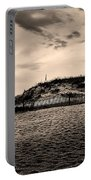 The Beach In Sepia Portable Battery Charger