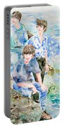 The Beatles At The Sea - Watercolor Portrait Portable Battery Charger